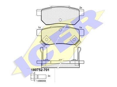 Stražnje kočione obloge IE180752-701 - Honda Civic 92-01