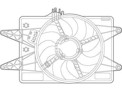 Ventilator hladilnika Fiat Doblo 00- dizel AC+