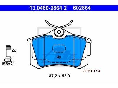 Zadnje kočione obloge 13.0460-2864.2 - Audi, Seat, Volkswagen
