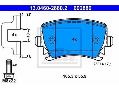 Zadnje kočione obloge 13.0460-2880.2 - Audi, Seat, Škoda, Volkswagen