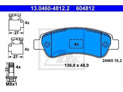 Zadnje kočione obloge 13.0460-4812.2 - Citroen, Fiat, Peugeot
