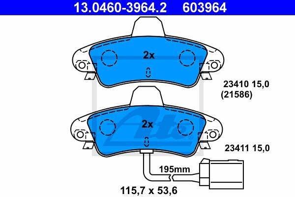 Zadnje zavorne obloge 13.0460-3964.2 - Ford Mondeo -00
