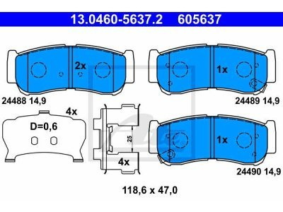Zadnje zavorne obloge 13.0460-5637.2 - Hyundai Santa Fe 01-09