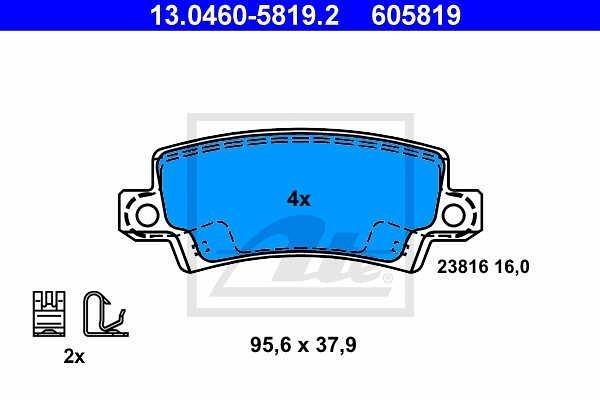 Zadnje zavorne obloge 13.0460-5819.2 - Toyota Corolla 00-08