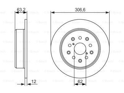 Zadnji diskovi kočnica BS0986479339 - Lexus GS 97-05