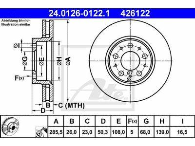 Zadnji diskovi kočnica24.0126-0122.1 - Volvo XC70 Cross Country 97-07
