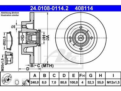 Zadnji zavorni diski 24.0108-0114.2 - Renault Wind 10-