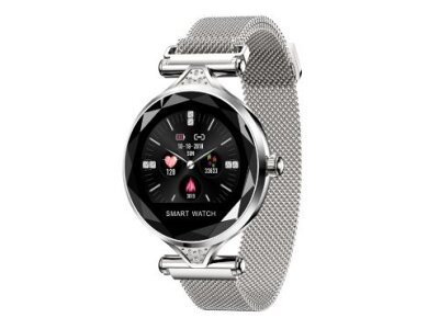 Ženski pametni sat H1, brojač koraka, mjerač srčanog otkucaja, White Steel