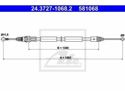 Žica ročne zavore 24.3727-1068.2 - Renault Trafic 01-14, levo