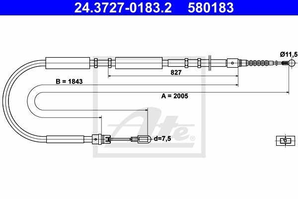 Žica ročne zavore Audi A4 00-07, zadaj, desno