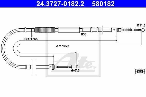 Žica ročne zavore Audi A4 00-07, zadaj, levo