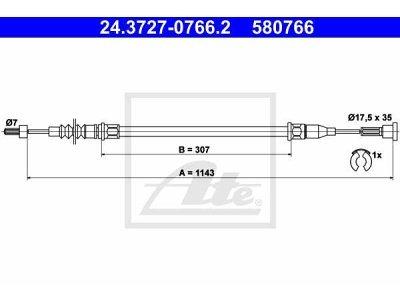 Žica ročne zavore Opel Corsa 00-06, zadaj, desno, 1143 mm