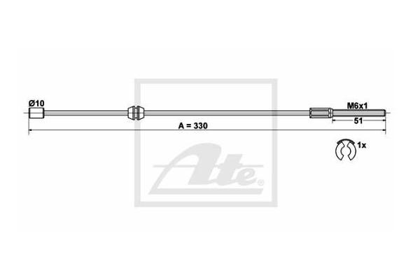 Žica ročne zavore Opel Corsa 00-09, zadaj, 330 mm