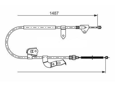 Žica ručne kočnice Citroen C1 05-, stražnji, lijevo, 1487/1243 mm