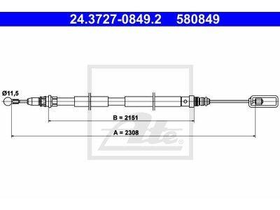 Žica ručne kočnice Citroen C8 02-, natrag, 2308mm