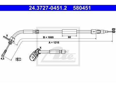 Žica ručne kočnice Mercedes-Benz Razred A 04-12, natrag desno, 1215 mm