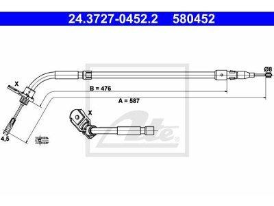 Žica ručne kočnice Mercedes-Benz Razred A 04-12, natrag lijevo, 587 mm