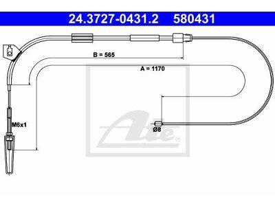 Žica ručne kočnice Mercedes-Benz Razred A 97-04, naprijed, 1170 mm