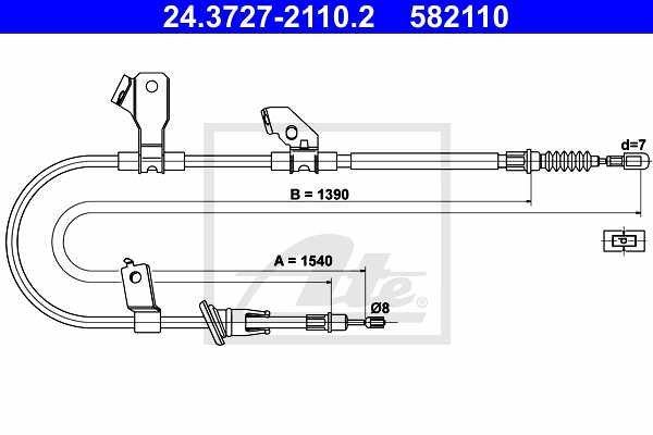 Žica ručne kočnice Mitsubishi Colt 02-12, natrag, lijevo