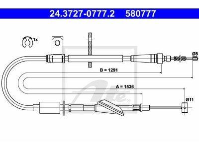 Žica ručne kočnice Opel Agila 00-07, stražnji, lijevo, 1536 mm
