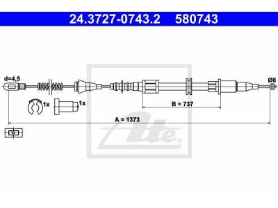 Žica ručne kočnice Opel Tigra 94-00 , natrag lijevo, 1373 mm