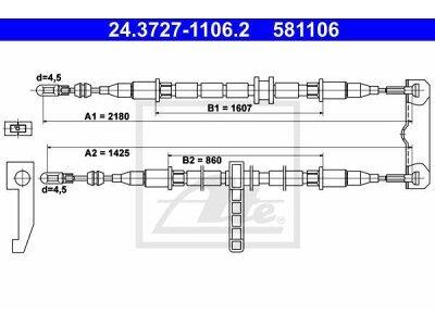 Žica ručne kočnice Saab 9-3 98-02, natrag, 2178/1435 mm