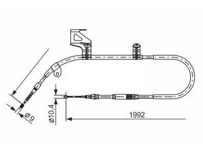 Žica ručne kočnice Škoda Superb 02-08, natrag, lijevo