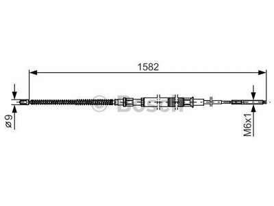 Žica ručne kočnice Volkswagen Golf 91-02, natrag, 1582mm