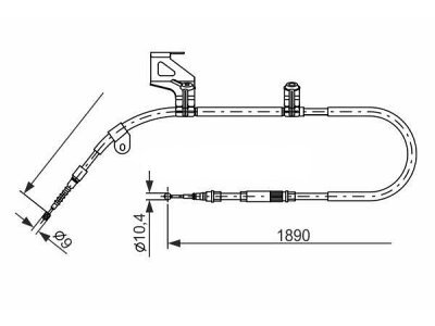 Žica ručne kočnice Volkswagen Passat 96-05, natrag, lijevo, 1890mm
